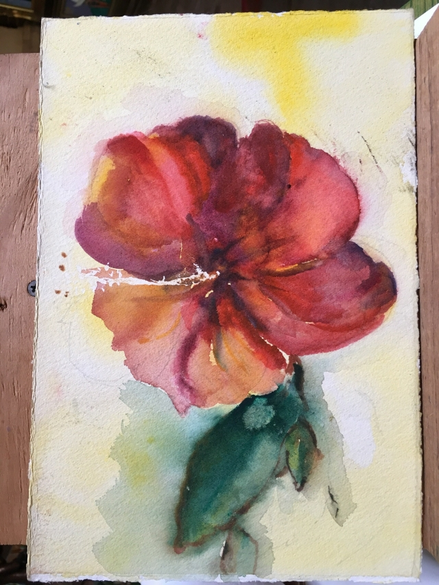 HJN0009 Crouching Flower. Watercolor, 7 x 11 in. $110