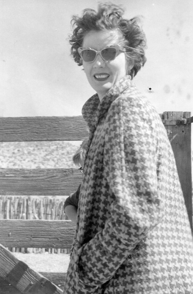 mother in houndstooth coat