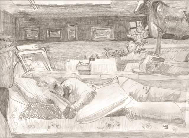 Napper, JMN, 2012. Pencil on paper. 9 x 12 in. Copyright 2018 James Mansfield Nichols. All rights reserved.