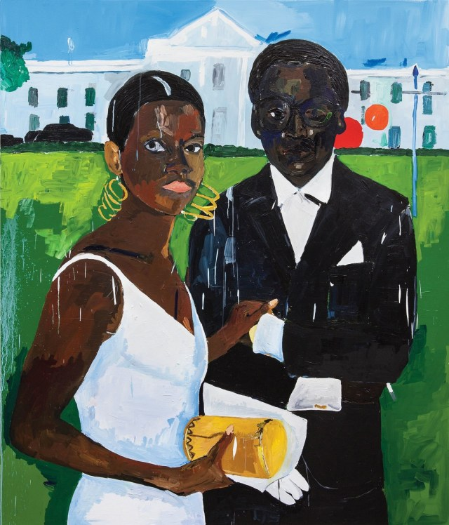 "Henry Taylor ""Cicely and Miles Visit the Obamas,"" from 2017, shows Taylor_s spatial, tonal genius.Courtesy the artist and Blum & Poe"
