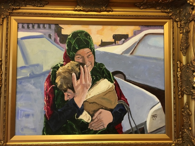 JMN2017 Woman Hugging Boy, oil on canvas, 18 x 24 in.