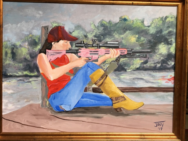 JMN2017 Woman With Rifle, Oil on canvas, 18 x 24 in. (c) 2018 James Mansfield Nichols. All rights reserved.