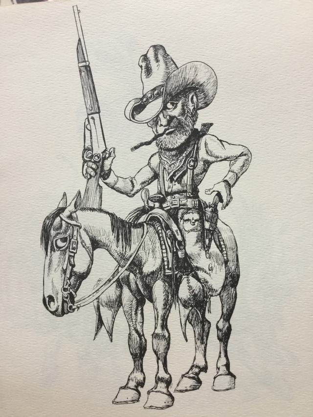 Law West of the Pecos, Tom Jones drawing,