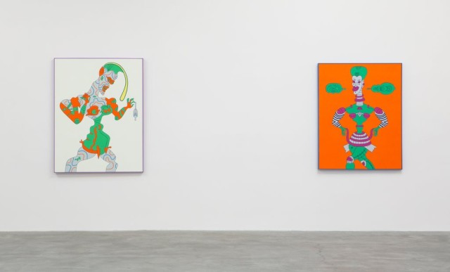 An installation view of Karl Wirsum_s colorful toy-robot-figures at the Matthew Marks space. Credit Sean Logue