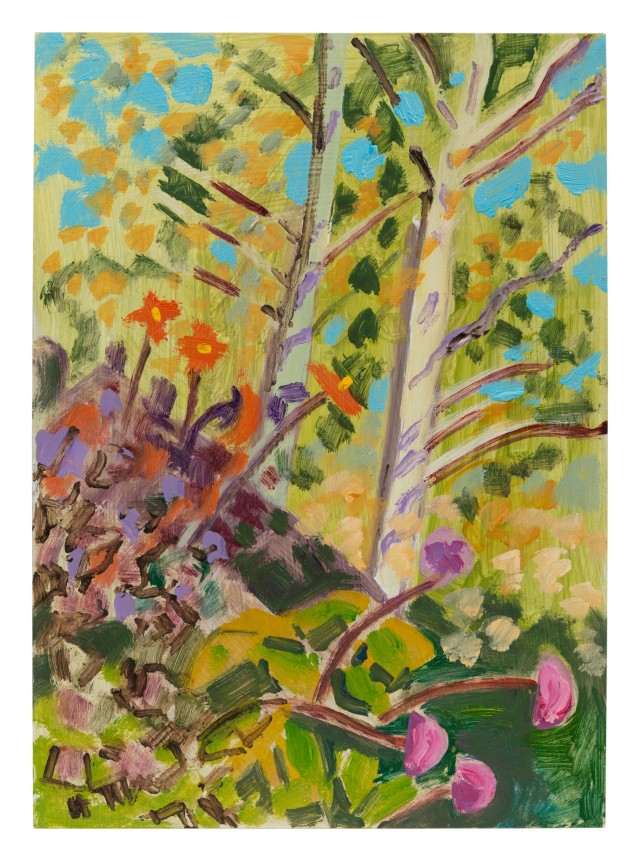 """Dahlias and Birch Trees,"" from 2004, is one of Lois Dodd_s 10 small oil studies of nature in the survey.CreditLois Dodd Greene Naftali Gallery and Matthew Marks Gallery"