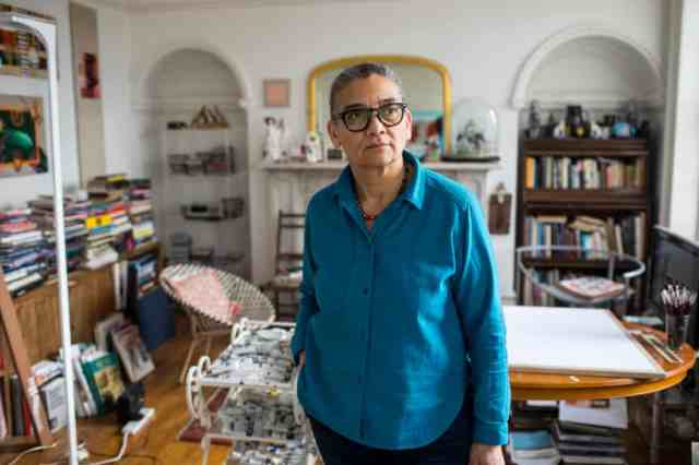 Lubaina Himid, photographed at home in Preston Lancashire. Photograph Antonio Olmos for the Observer