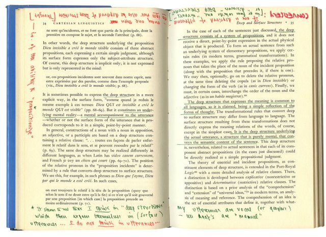 "Oliver Sacks_ copy of ""Cartesian Linguistics,"" by Noam Chomsky.CreditBill Hayes"