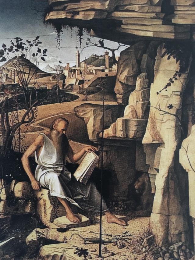 St Jerome, patron saint of translators, by Bellini