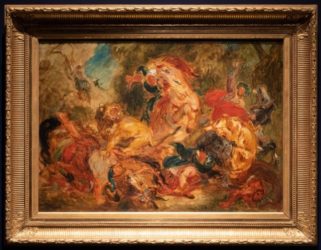 "Delacroix_s ""Lion Hunt, sketch,"" oil on canvas, shows the improvisatory confidence of a de Kooning.CreditAgaton Strom for The New York Times"