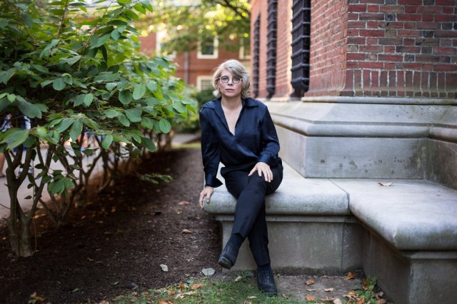 Jill Lepore, the author of These Truths A History of the United States, outside the Widener Library at Harvard, where she is a professor.Credit Kayana Szymczak for The New York Times