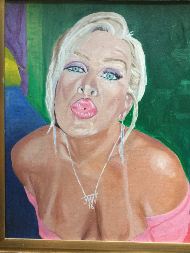 JMN2016, Woman Puckering2, oil on canvas, 16 x 20 in. (c) 2018 James Mansfield Nichols. All rights reserved.