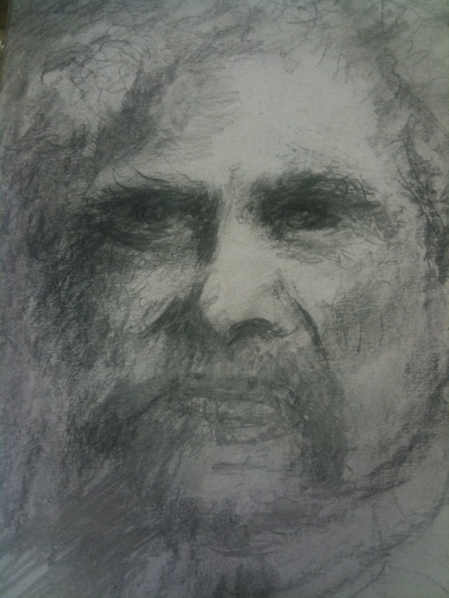 Mark Twain. HJN, drawing.