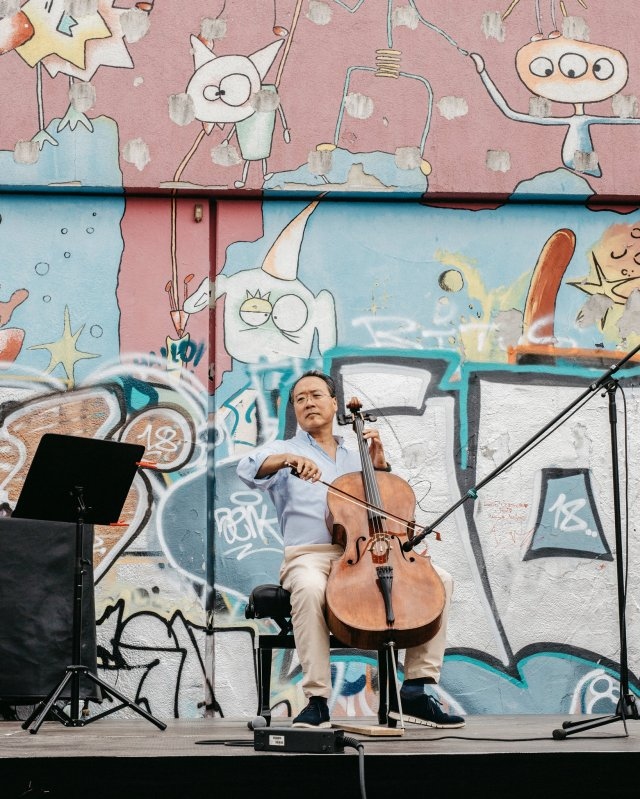 Yo-Yo Ma, performing at Stadtteilpark in Leipzig, Germany, earlier this month as part of his planned
