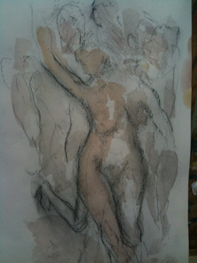 HJN Female Nude, watercolor