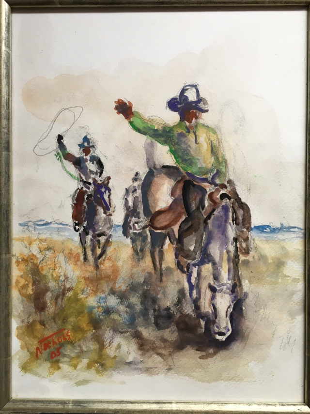 HJN. 2001W Cowboy on Bucking Horse. Oil on canvas, 12 x 16 in. Framed, signed,2005. $450