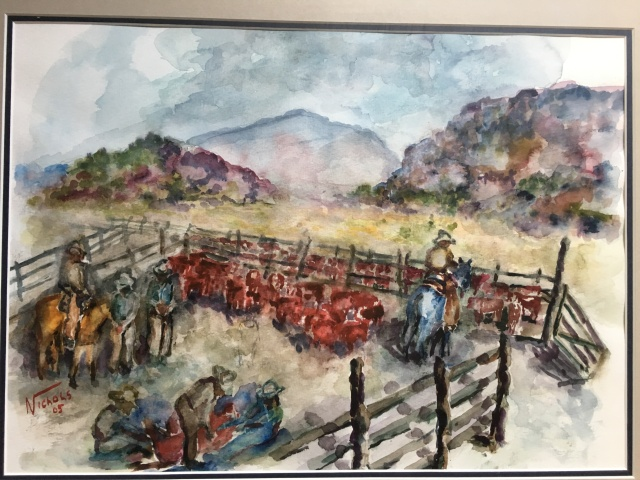 HJN. 2002W Branding Cattle. Watercolor, 13 x 18 in. Framed, signed, 2005. $650