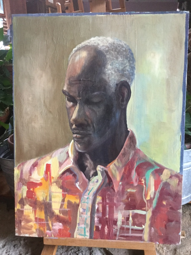 HJN. Oil on canvas. Bright shirt
