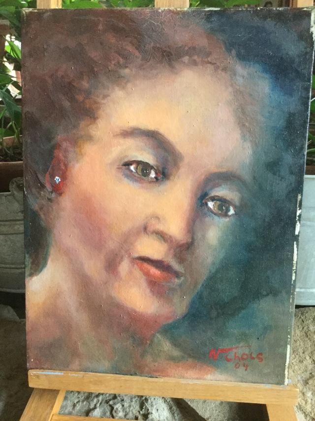 HJN. Oil on canvas. Female face