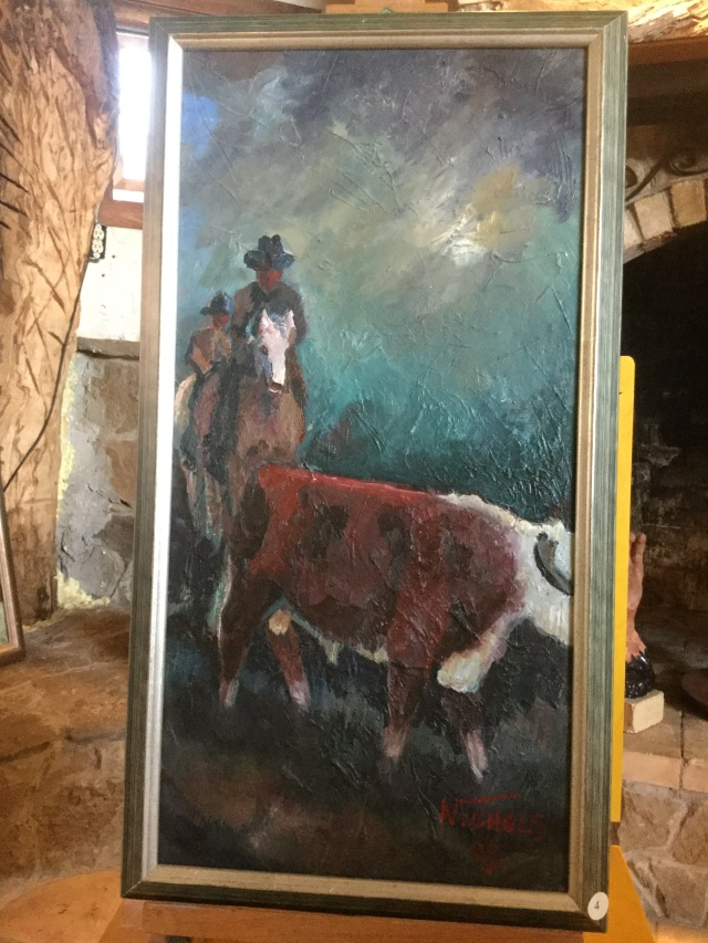 HJN. Oil on canvas. Horseman and cow