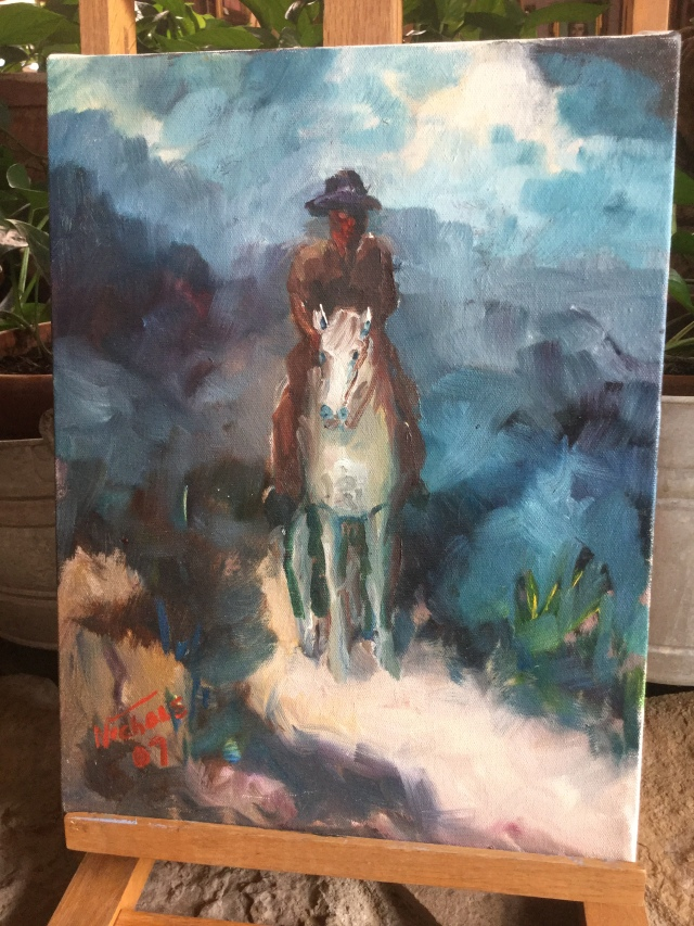 HJN. Oil on canvas. Horseman