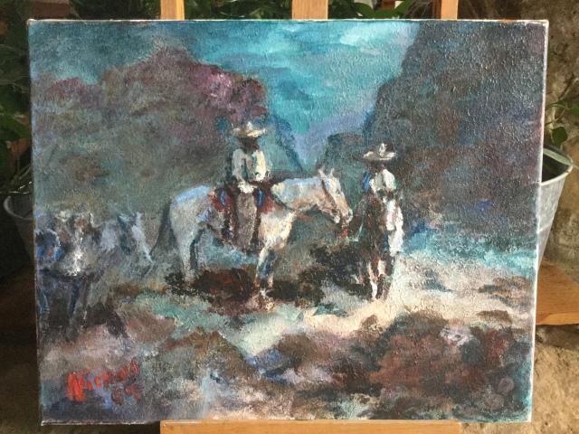 HJN. Oil on canvas. Horsemen at night