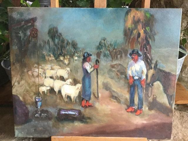 HJN. Oil on canvas. Shepherds