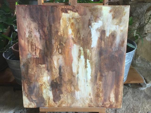 HJN. Oil on canvas. Tree bark