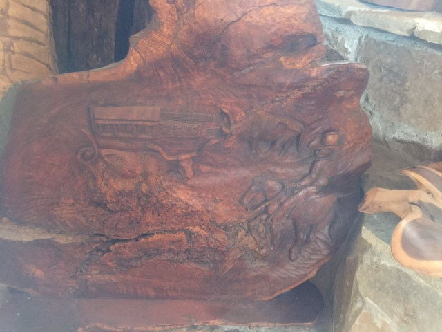 HJN. Ranch life. Carved relief