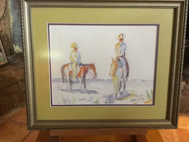 HJN. Watercolor. Couple of horsemen
