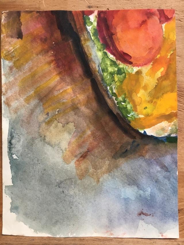 HJN0008W Avocado Pit. Watercolor, 7 x 9 in. Side 1.